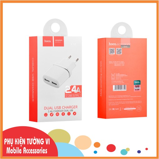 Củ Sạc Điện Thoại 2 Cổng USB HOCO C12A - Chính Hãng