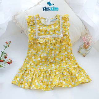 Váy bé gái hè hoa nhí FISH KIDS chất thoáng mát thấm hút VAN0343