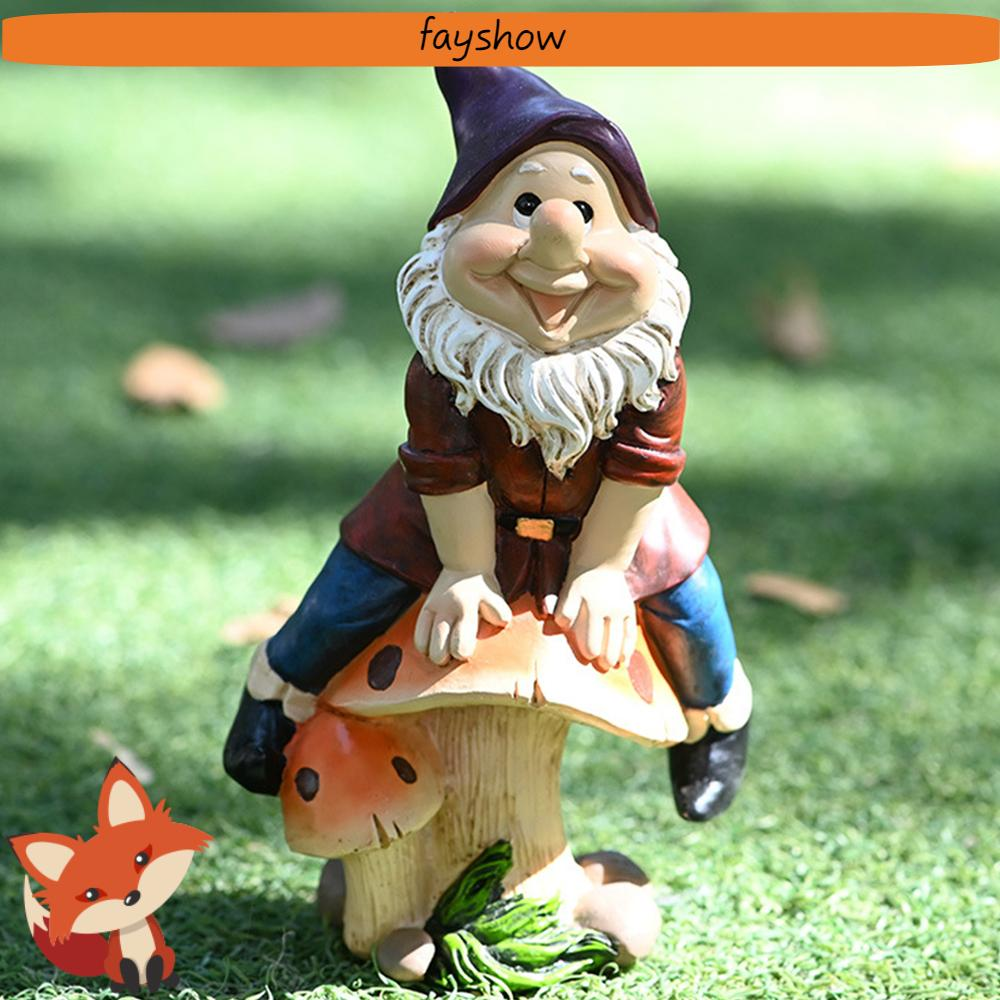 💕FAY💕 Funny Gnome Statue Outdoor Courtyard Lawn Figurine Dwarf Ornament Garden Resin Cartoon Decoration Sculpture