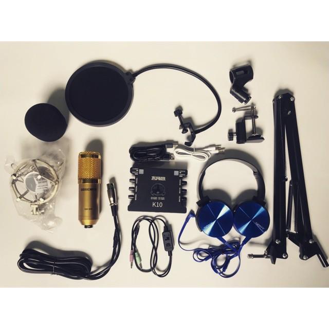 [HÀNG MỚI]  Combo livetream Woaichang BM 900. Sound card Xox k10,màng lọc,dây live tream,chân kẹp bàn. Tặng tai nghe