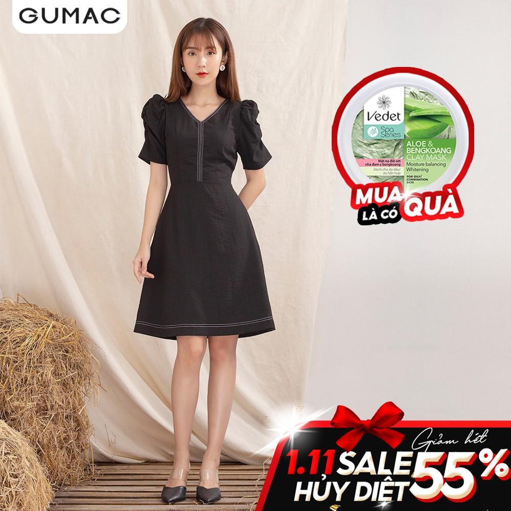 Đầm cổ V dằn chỉ DA1028 GUMAC