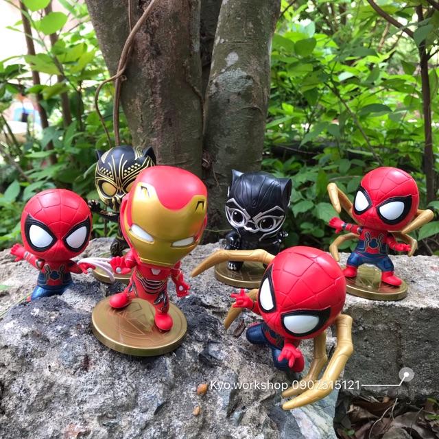 [Không hộp] Mô hình combo 8 món Chibi Black Panther - Ironman - Spiderman Marvel