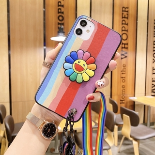 Casing For Samsung Galaxy Note 20 Ultra S20+ S10+ S9+ Note10+ 9 8 Phone case Beautiful Seven colors rainbow Soft Back Case Cover With Lanyard and Holder