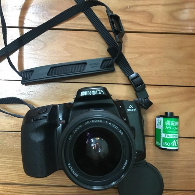 Máy ảnh film Minolta 303si + lens Minolta macro 28-80 ngàm A
