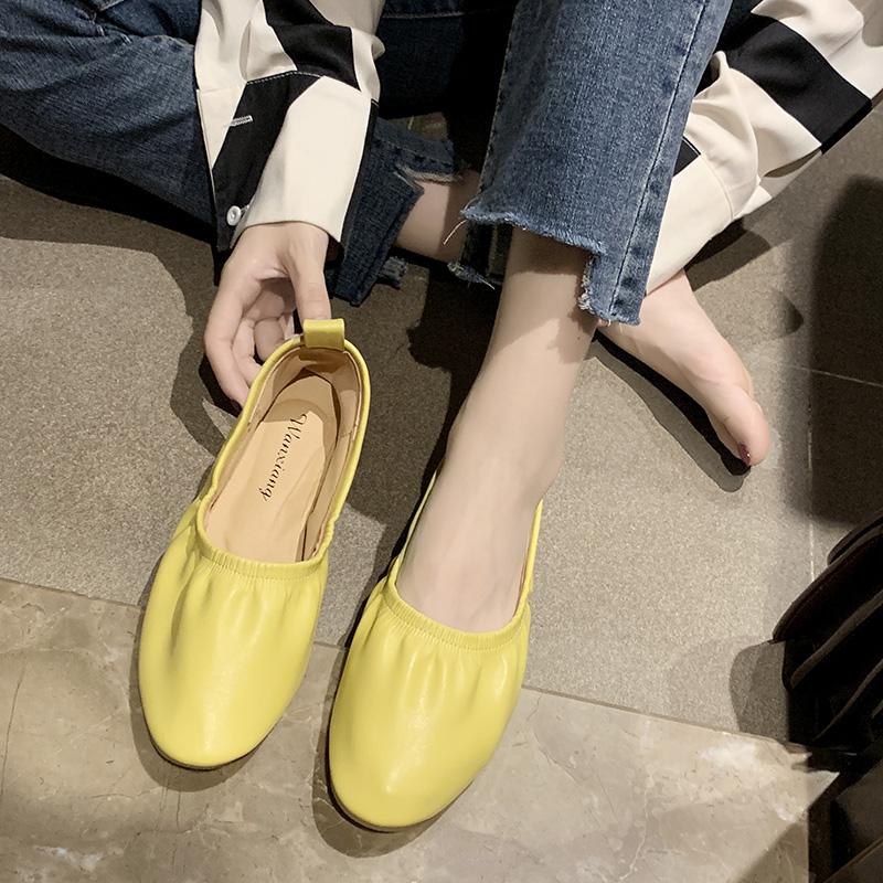 Giày lười đế bệt màu trơn thiết kế thoải mái dành cho nghệ sĩ múa ba lê/y tá/phụ nữ mang thai