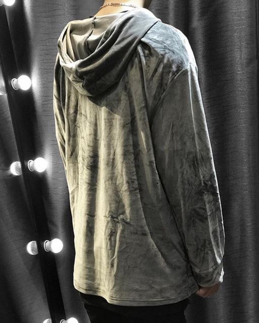Áo hoodie nhung màu loang bạc