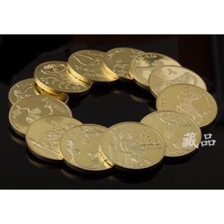 Đồng xu 12 cung hoàng đạo mạ vàng may mắn phong thuỷ