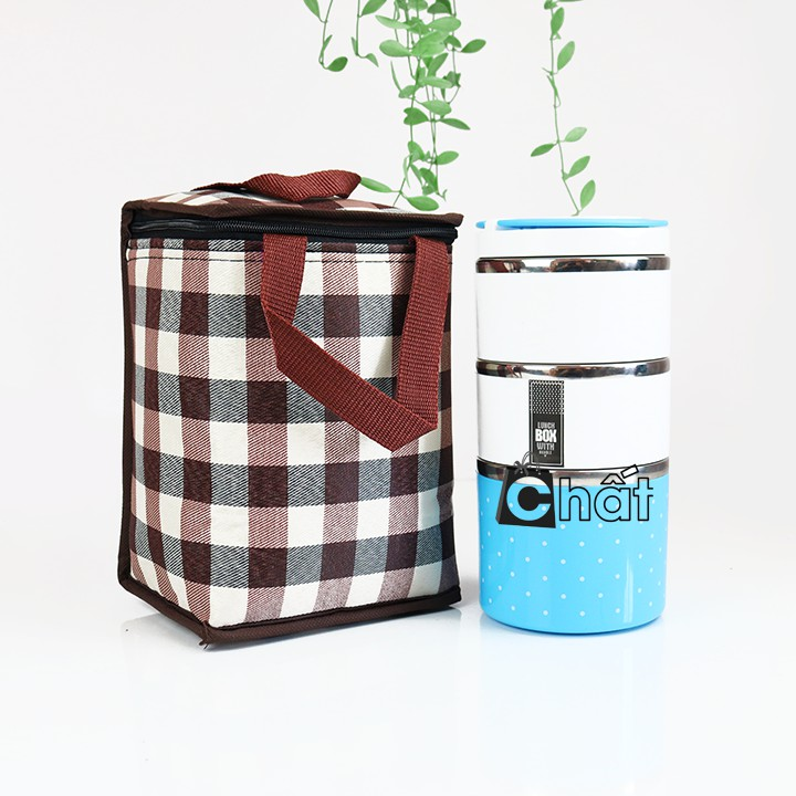 Combo hộp cơm và túi giữ nhiệt đứng caro trắng nâu