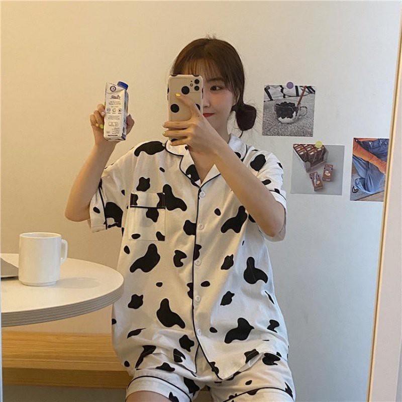 Pijama nữ bộ đồ ngủ bò sữa mặc nhà cao cấp mùa hè cute dễ thương giá rẻ Hanz.vn H5