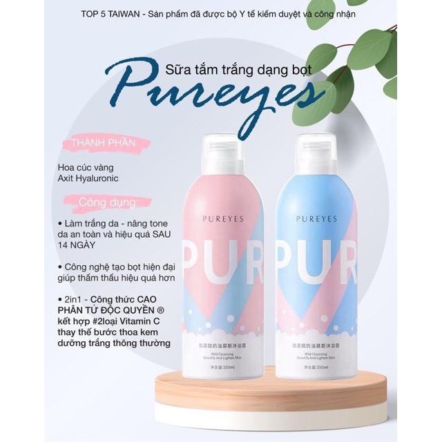 (hàng có sẵn) Sữa Tắm Dưỡng Ẩm Trắng Da Pureyes, Sữa Tắm Trắng Da Tạo Bọt Pureyes 350ml