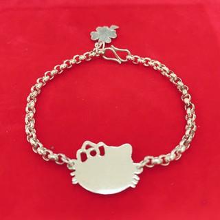 Lắc bạc trẻ em_Vòng Bạc Cho Bé Gái Mặt mèo Hello Kitty khắc tên theo yêu cầu V19