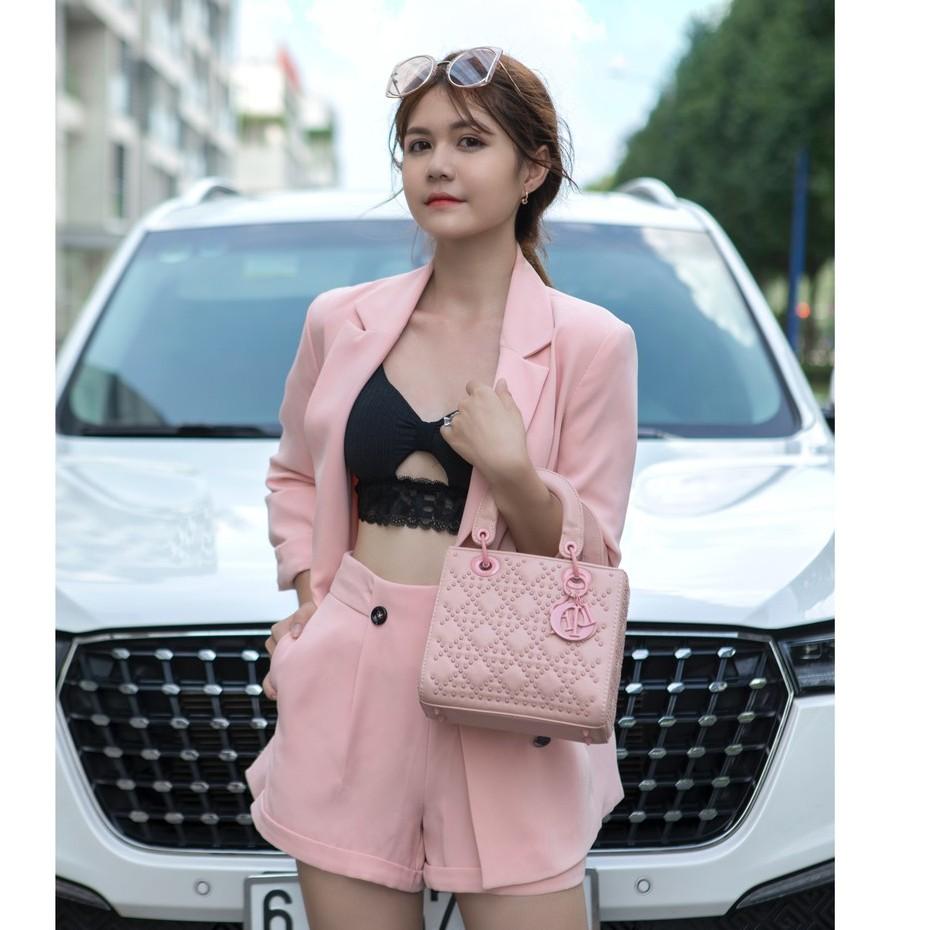 Set áo vest áo blazer nữ HAPPY WEAR dáng Regular Fit phong cách khoác Rộng Rãi Thoải Mái màu hồng Pastel có 3 size