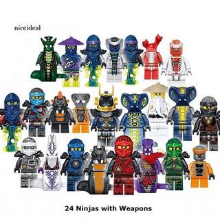 ✲Nd 24Pcs Mini LEGO Ninja Characters Weapons Doll DIY Building Blocks Kids Toy