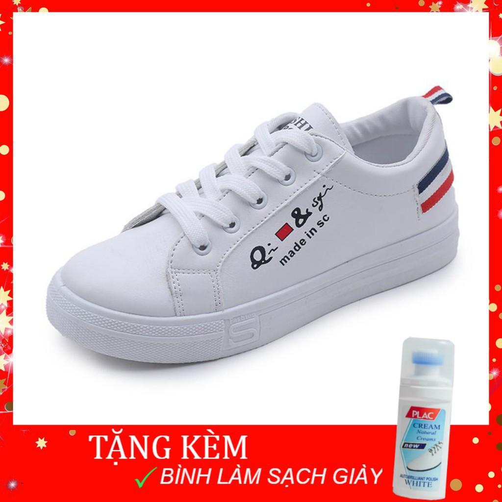 Giày thể thao hàn quốc SPORT da mềm trắng gót sọc xanh đỏ+Tặng lo lau làm sạch tẩy trắng giày dép