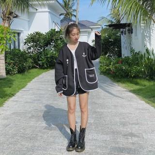 Áo khoác cardigan nữ form rộng in hoa cúc chạy viền trắng 4young mall thumbnail