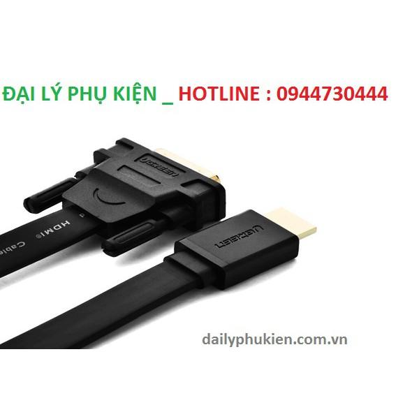 Cáp HDMI to DVI (24+1) mỏng dẹt dài 12M Ugreen 30141