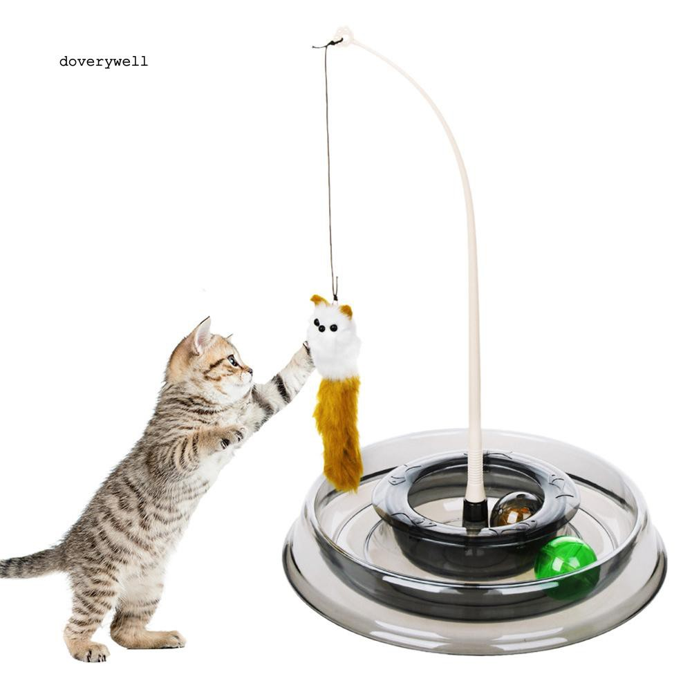 DYL_Round Interactive Cat Toy Rotatable Roller Kitten Turntable Game Pet Supplies