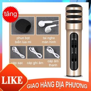 Micro Livestream C7 (đủ phụ kiện) Thu Âm Hát Karaoke Livestream 3 in 1 + Tặng Tai Nghe  [HTC7]