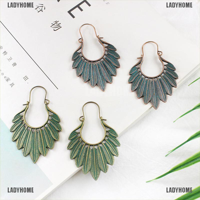 【Ladyhome】Bohemian Ethnic Leaf Tassel Drop Dangle Earrings Handmade Statement