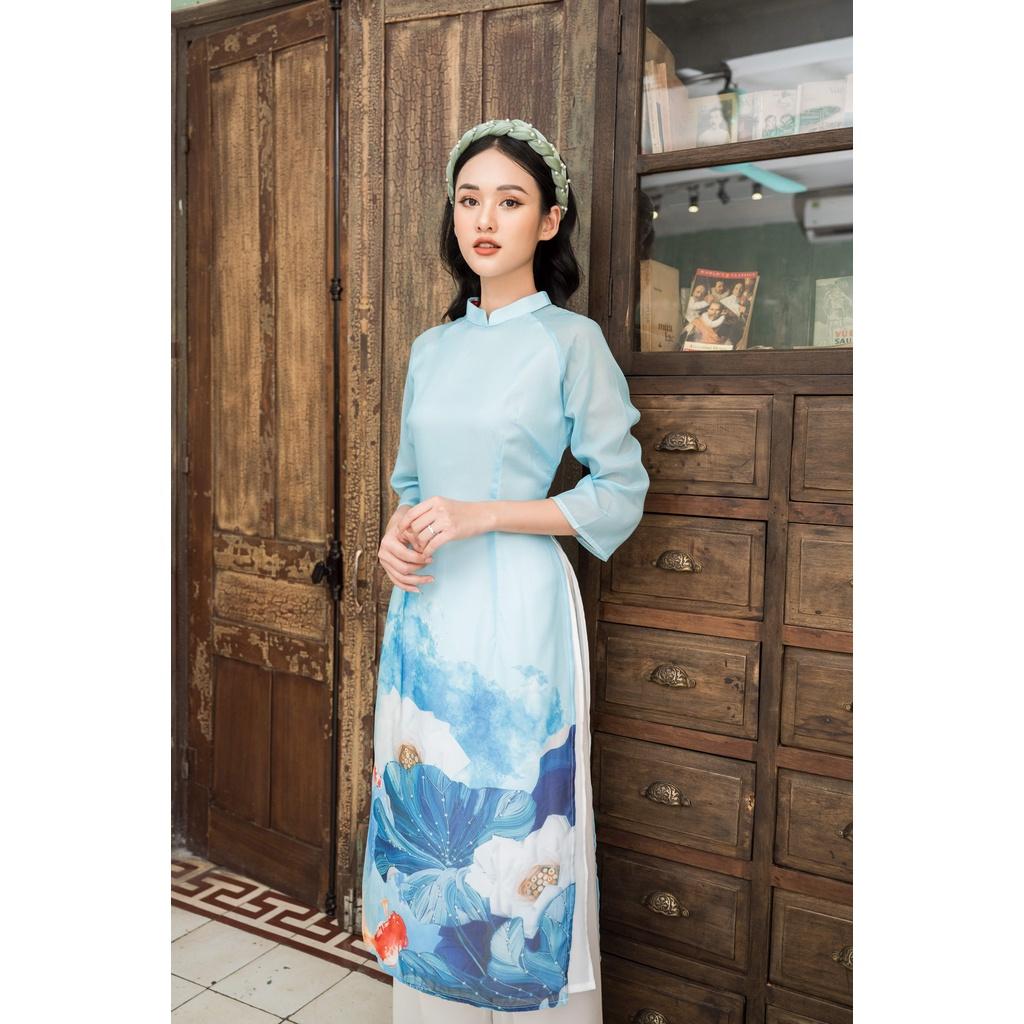 Áo dài nữ 🎀FREESHIP🎀 Áo dài hoa cách tân lụa cao cấp 4 tà dành cho người từ 40kg tới 63kg