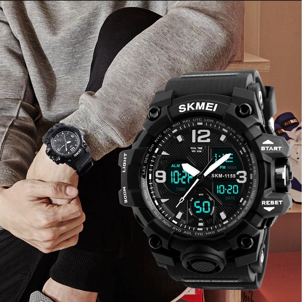 Đồng hồ nam chính hãng SKMEI cao cấp, kiểu dáng thể thao, chống nước siêu tốt, dây cực bền, full chức năng ( Mã:ASK