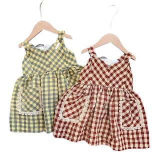 Váy bé gái 2 dây kẻ sọc thôi đũi có túi trước XHN266