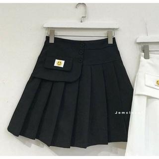 Váy xếp ly hình smile 2 màu trắng đen vải da cá đẹp thumbnail