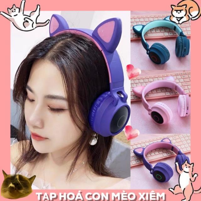 Tai nghe Bluetooth Cat Ear Cao cấp, tai nghe tai mèo siêu Cute tai nghe không dây có Led hỗ trợ FM Thẻ TF/AUX
