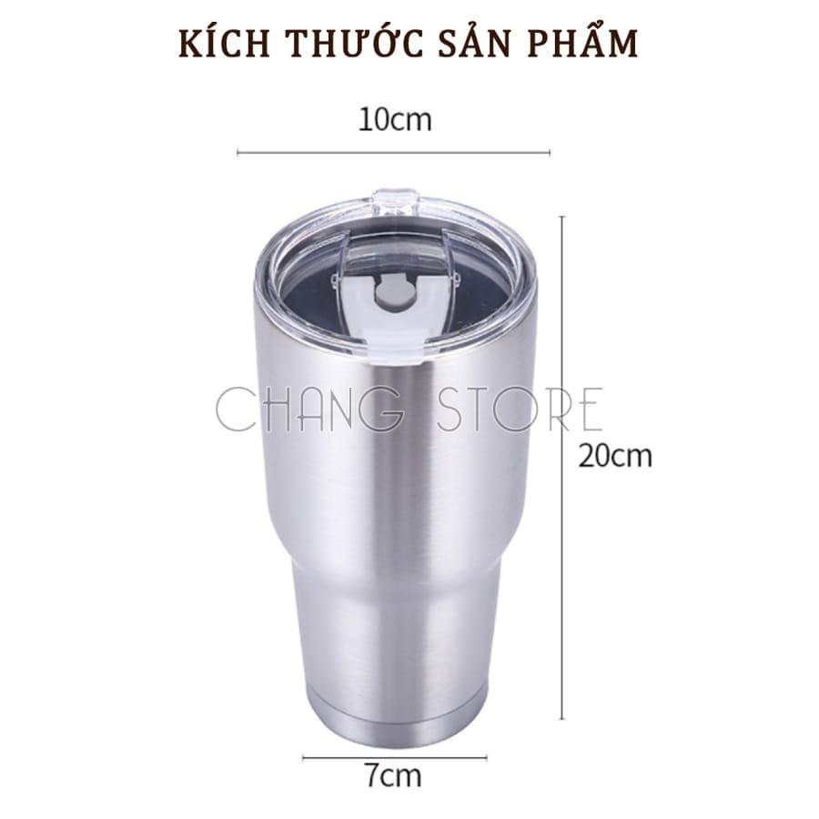 Cốc Giữ Nhiệt Thái Lan 900ml Chống Trào Tiện Lợi + Tặng Kèm Full Bộ Phụ Kiện Ống Hút Tái Sử Dụng Và Túi Đựng