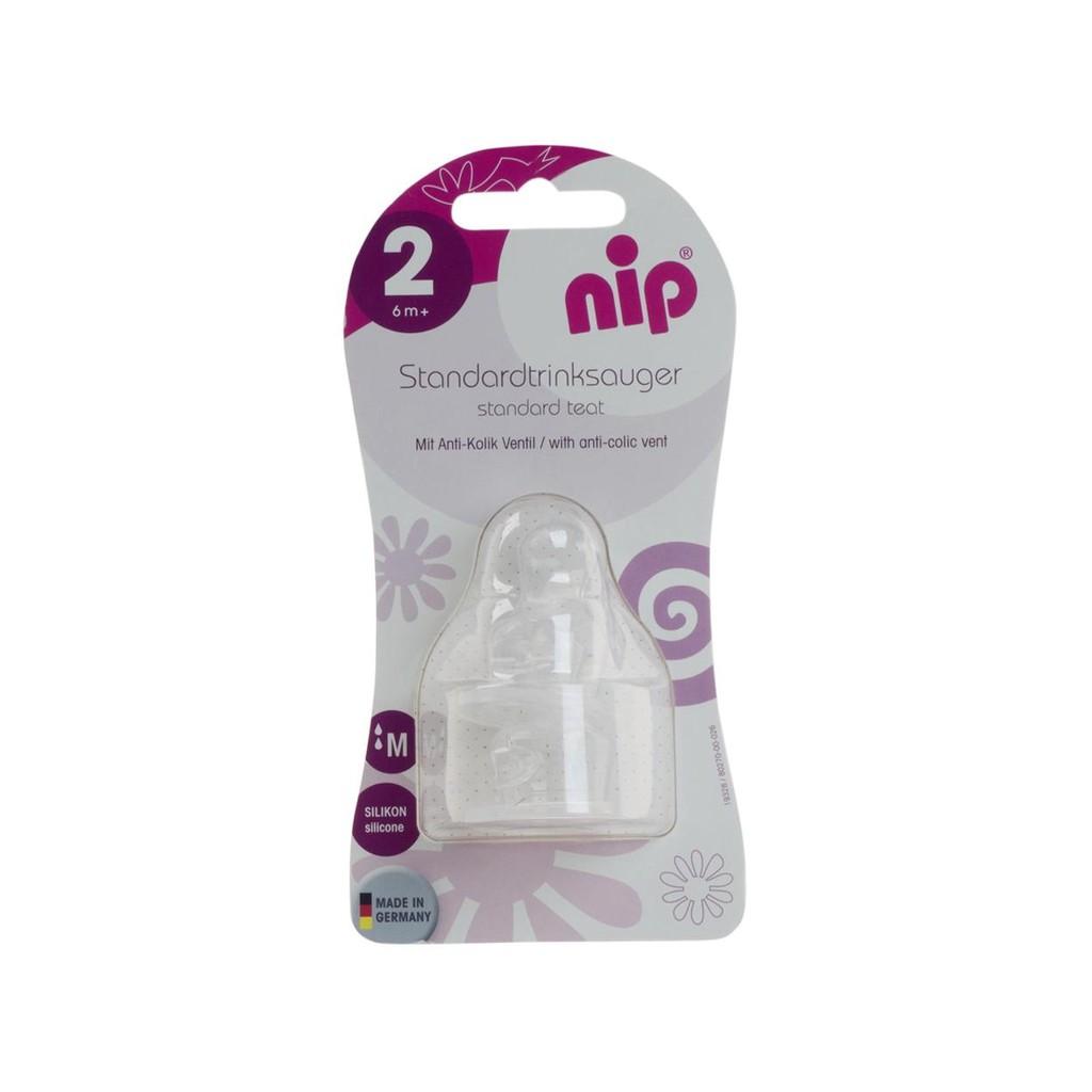 [Mã 256FMCGSALE giảm 8% đơn 500K] Bộ 2 Núm ti nip chỉnh nha cho bình cổ thường, chống sặc, bằng silicon