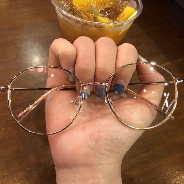 Gọng kính cận kim lọai siêu hot màu vàng hồng