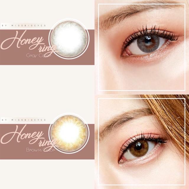 Lens kính áp tròng Honey Ring Brown/Gray-Full từ 0-10 độ