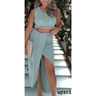 Set Áo Lửng Cộc Tay + Chân Váy Xẻ Tà Quyến Rũ Cho Nữ