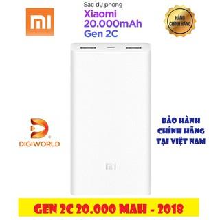Pin Sạc Dự Phòng Xiaomi Gen 2C 20000mAh 2018 (Trắng)| PLM06ZM – Hàng Chính Hãng DGW | Mới 100%