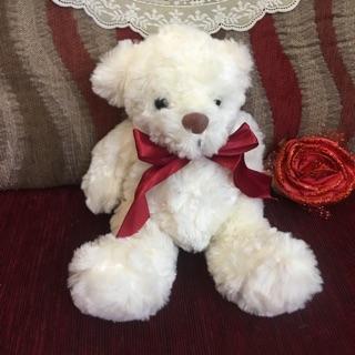 Gấu bông ( gấu trắng kem đeo nơ đỏ )