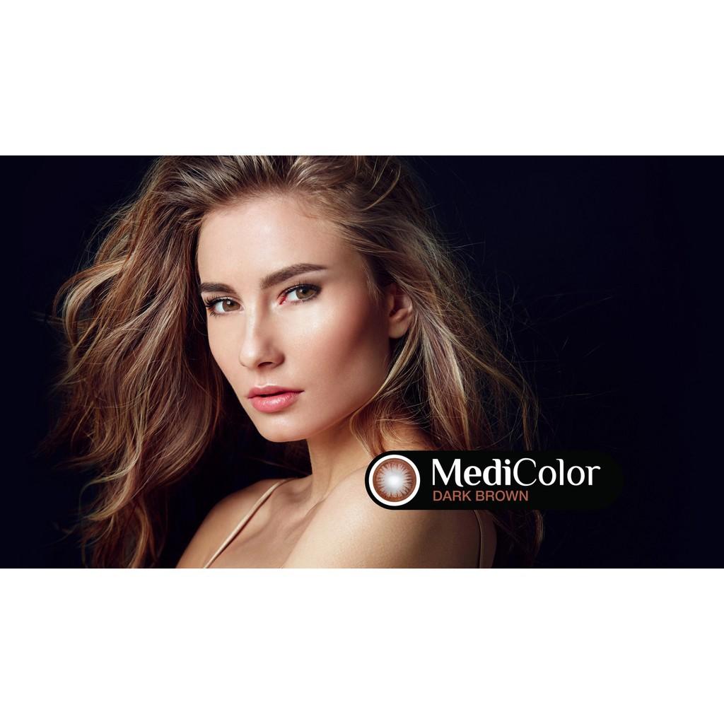 [FREESHIP] Cặp Kính Áp Tròng Australia Màu Nâu Medicolor 6 Tháng (0-6 Độ)