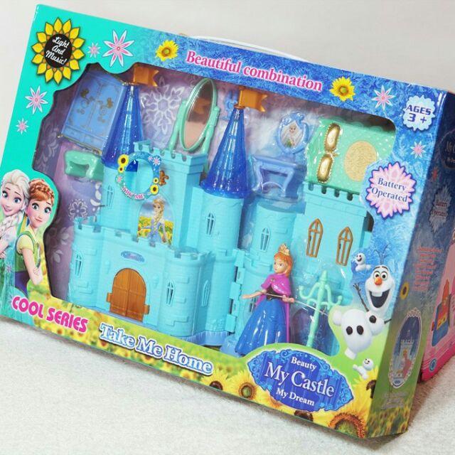 Đồ chơi lâu đài công chúa Elsa & Anna. Có nhạc