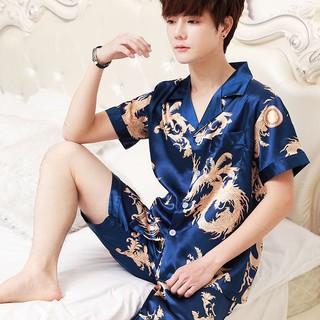 Bộ Đồ Pijama Tay Ngắn Vải Lụa Lạnh Thời Trang Mùa Hè Mát Mẻ Cho Nam