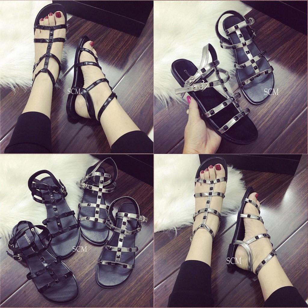 Giày sandal bệt đinh nhiêu dây - màu: đen, xám chì