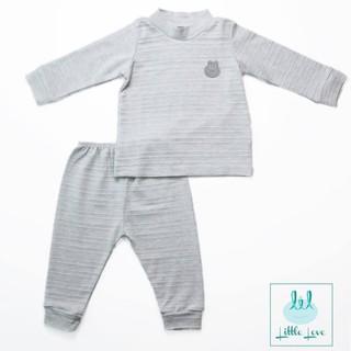 Bộ quần áo dài tay Little love vải cotton ren cổ 3 phân