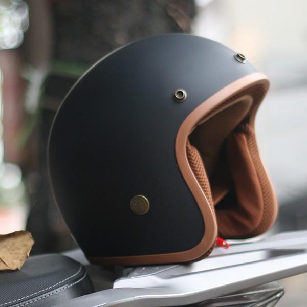 Mũ Nón Bảo Hiểm 3/4 Lót Đệm Nâu Cao Cấp Kèm Kính Phi Công |Mũ Nhựa ABS Độ Bền Cao -BH 12 Tháng
