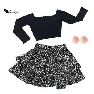 Combo set áo bẹt vai chân váy hoa nhí tặng kèm silicon dán ngực tiện lợi La Boutique thumbnail