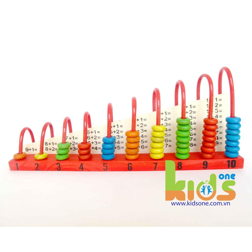 Đồ chơi bàn tính gỗ học đếm - bảng tính cầu vồng cho bé