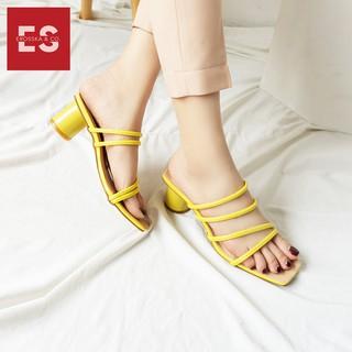 Hình ảnh Dép cao gót Erosska thời trang mũi vuông phối dây quai mảnh cao 5cm màu kem _ EM038-8