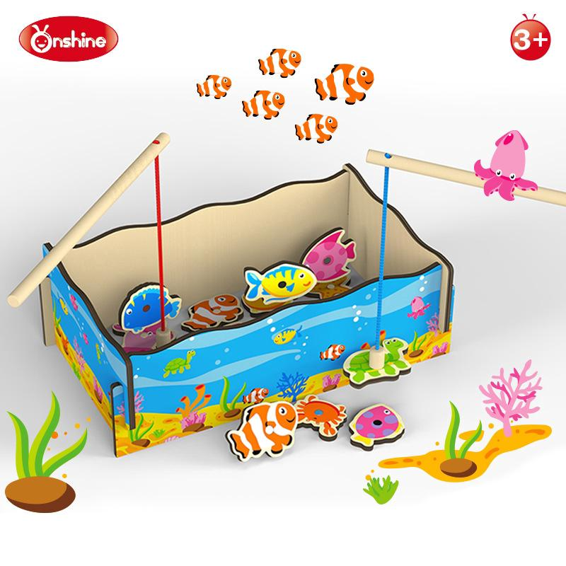 Fish Marine Game Magnetic Wooden Toy Training Hand Eye Coordination Toys