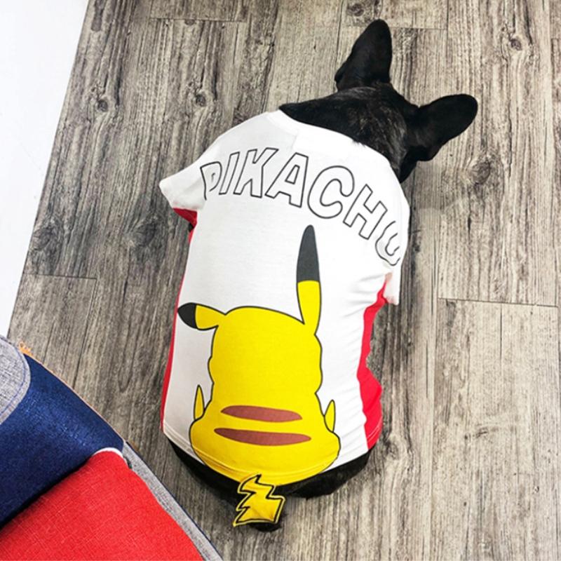 ฤดูใบไม้ผลิและฤดูร้อนชุด Pikachu ฝ้าย T น้ำแบรนด์เสื้อผ้าทำสุนัขแมวสามสีทองผมใหญ่ชุดสุนัขดูใบไม้ผลิและฤดูร้อนชุด Pikachu