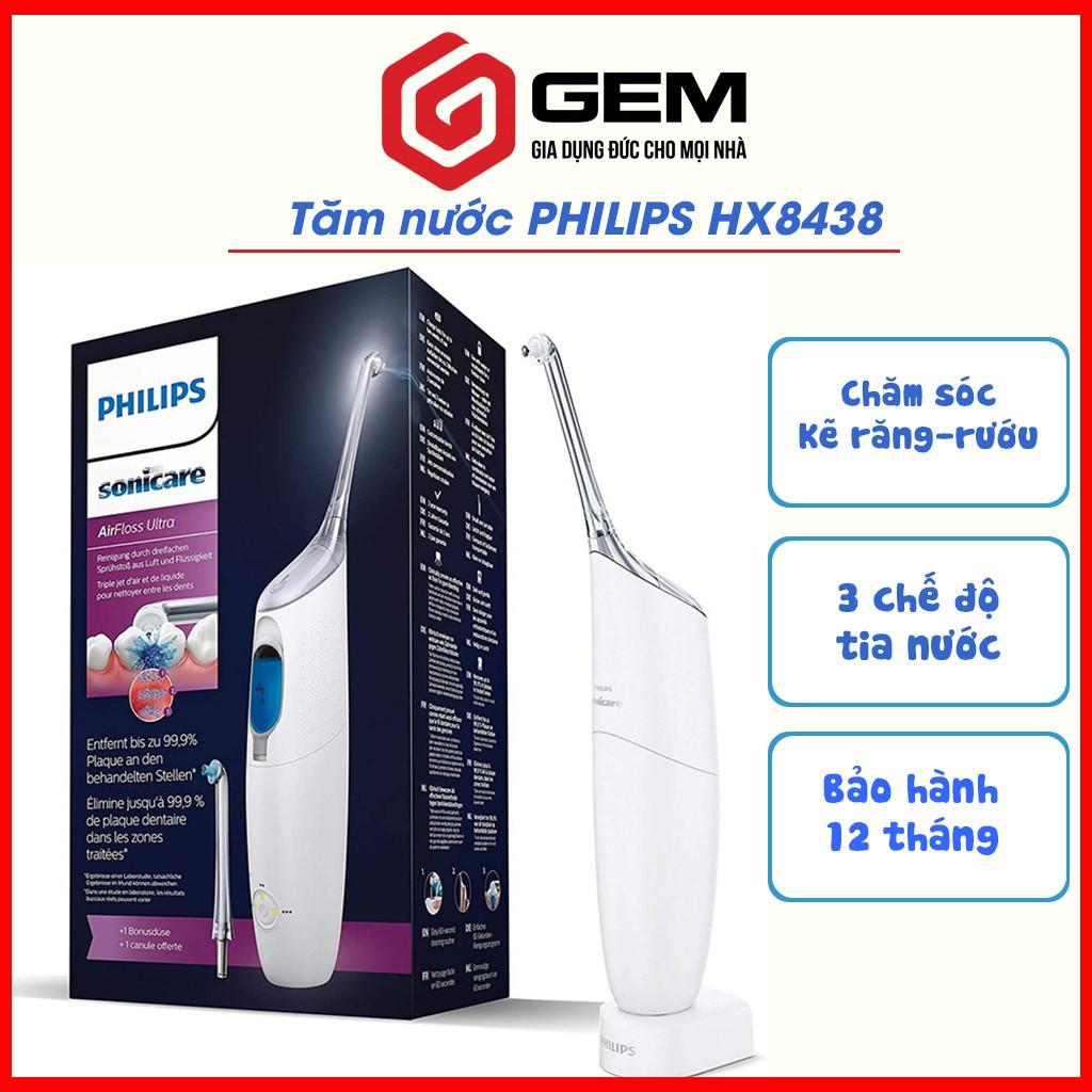 Tăm nước Philips Sonicare AirFloss Ultra HX8438/01 Màu trắng - Tăm nước du lịch cầm tay. [NHẬP ĐỨC]