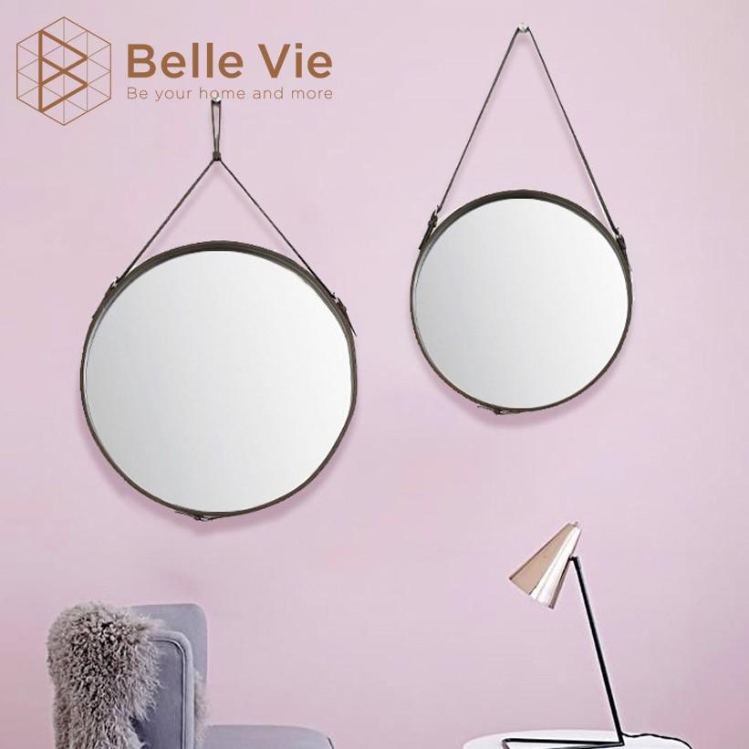 Gương Tròn Treo Tường BELLEVIE Gương Dây Da Simili Cao Cấp Trang Trí Decor Đường Kính 60cm Mirror Decor