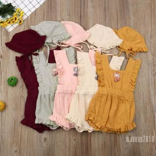 Mu♫-Toddler Baby Girls Cotton Romper Bodysuit Jumpsuit Hat Outfits Clothes