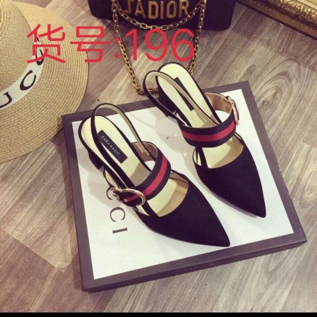 Giày hở gót dây đỏ